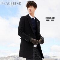 【开学季1件2.5折,到手价:369元】太平鸟男装冬季新款黑色修身绅士双排扣羊毛大衣毛呢大衣潮流外套