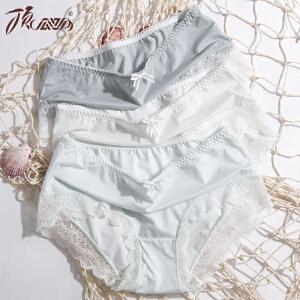顶瓜瓜内裤女夏季清凉透气三条装 甜美蝴蝶结性感蕾丝花边三角内裤女