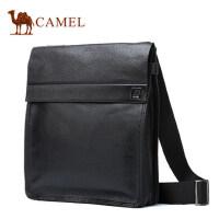 Camel骆驼单肩包男斜挎包休闲商务包男士包包牛皮包背包竖款男包