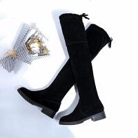 2019秋冬新款仙女平底骑士靴长筒靴女鞋子过膝靴高筒靴绒面长靴子