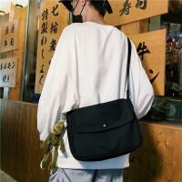 男士斜挎包小挎包女背包邮差帆布单肩包休闲学生包包