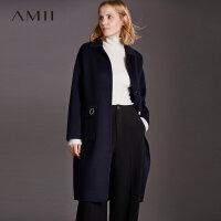 Amii极简高端手工100%羊毛毛呢外套女法式冬新宽松长款双面呢大衣