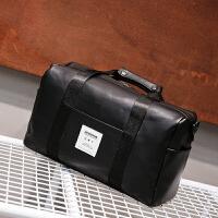 2018新款男士旅行包手提包大容量旅游出差健身短途皮质防水单肩行李包袋女 经典黑