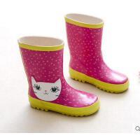 时尚可爱女童雨鞋橡胶耐磨防滑防水雨靴卡通印花防水雨靴 可礼品卡支付