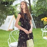 Lagogo/拉谷谷2019年夏季新款时尚女印花无袖连衣裙IALL205A28