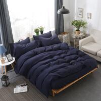 四件套床上用品宿舍素色深色磨毛被套床单学生宿舍三件套北欧