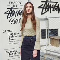 【街拍】海贝2017年秋季新款女装 甜美圆领条纹印花喇叭袖长袖套头针织衫