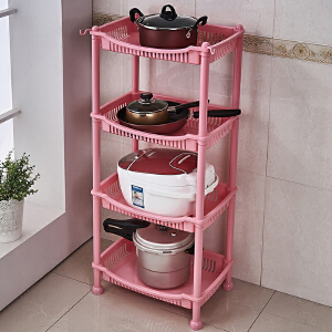 置物架 厨房置物架水果蔬菜架厨房用具用品收纳架转角储物架塑料落地层架 创意家具