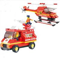 小鲁班 拼插积木 急速火警系列 机场消防队 模型玩具