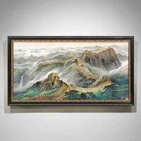 欧式客厅装饰画美式山水风景万里长城挂画办公室手绘油画玄关过道 160*280 单幅