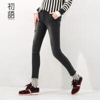 初语冬季新品  时尚街头绣花破洞显瘦九分牛仔裤女8531815003