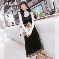 蕾丝连衣裙女装秋冬装季新款chic韩版潮款时尚学生百搭黑裙子