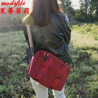 【满2件6折】茉蒂菲莉 单肩包 女士牛皮纸帆布背包百搭新款女包休闲创意时尚个性潮简约手提包