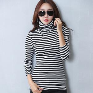 卡茗语2017秋冬韩版新款女装大码纯棉保暖加厚长袖条纹女T恤高领打底衫