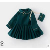 中小�和�秋冬�b新款娃娃�I�L袖女���B衣裙洋��r髦女童公主裙