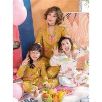 女童睡衣春秋季套装长袖小女孩亲子装母女纯棉秋装家居服
