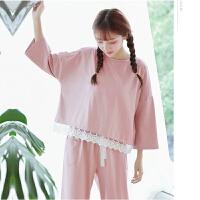 韩版秋季长袖睡衣女薄款学生花边公主家居服甜美宽松两件套春女士 粉红色 花边 套装