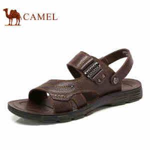 camel骆驼凉鞋男夏季新款牛皮露趾沙滩鞋真皮休闲男士凉拖鞋