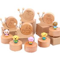 木制创意旋转卡通动物音乐盒榉木蜗牛音乐玩具木质工艺品.