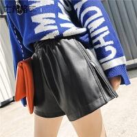 七格格PU皮短裤女秋季2018新款韩版宽松直筒显瘦黑色高腰阔腿裤子