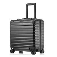 2018新款寸小拉杆箱万向轮商务电脑行李箱短途出差空姐旅行箱登机箱硬箱 黑色 铝框 寸