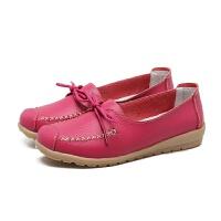 系带白色豆豆鞋女单鞋护士鞋平底孕妇鞋休闲中老年妈妈鞋 8879 玫红色