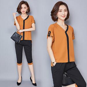 【仅限今日,满100减50】新款女装时尚拼接V领宽松上衣大码撞色七分裤两件套