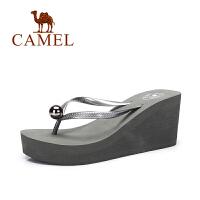 camel骆驼女鞋 夏季新品时尚简约百搭人字拖女 防滑坡跟拖鞋