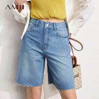 Amii极简黑科技冰冰感抗菌牛仔裤女2021夏季新款毛边直筒裤五分裤\预售8月2日发货