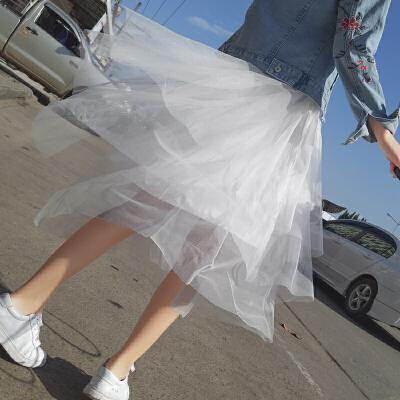 谜秀网纱半身裙女中长款2017新款韩版不规则高腰a字纱裙仙气的网纱裙