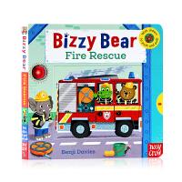 小小消防员纸板机关操作书 Bizzy Bear Fire Rescue! 小熊很忙系列英文原版绘本 机关操作书 交通工