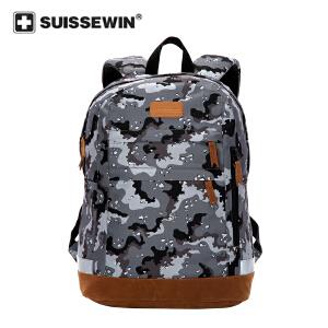 【SUISSEWIN旗舰店 支持礼品卡支付】中学生书包时尚休闲大容量双肩包舒适减压多功能区间分割袋学生运动背包