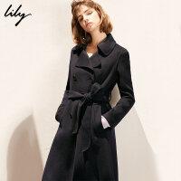 【25折到手价:1039.75元】 【羊绒】Lily冬藏青系带羊绒大衣双排扣毛呢外套