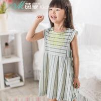 茵曼童装中大女童条纹印花裙子短袖连衣裙【3862102012】