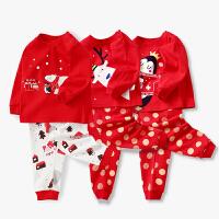 3套装儿童红色内衣套装秋冬宝宝婴儿衣服新年红色秋衣秋裤家居服套装本命年红色套装