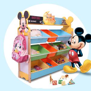 儿童收纳 家用多层落地木质玩具收纳架幼儿园男女宝宝卡通置物架储物柜整理架子满额减限时抢家具用品