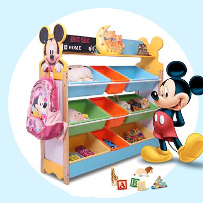 儿童收纳 家用多层落地木质玩具收纳架幼儿园男女宝宝卡通置物架储物柜整理架子满额减限时抢家具用品 偏远及部分地区不发货