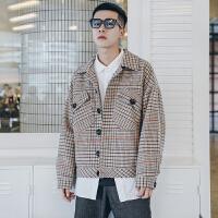 2018新款复古工装口袋格子毛呢外套男士宽松韩版潮流秋冬季夹克衫 卡其色