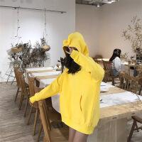 天线宝宝卫衣女ins超火2018新款抖音同款连帽小清新加绒长袖外套 黄色 M