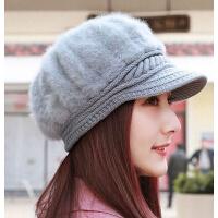 韩版时尚加厚画家帽骑车帽 新品女士兔毛贝雷帽鸭舌帽妈妈帽