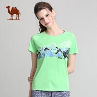 camel骆驼运动T恤 新品女款圆领T恤运动休闲跑短袖T恤女款