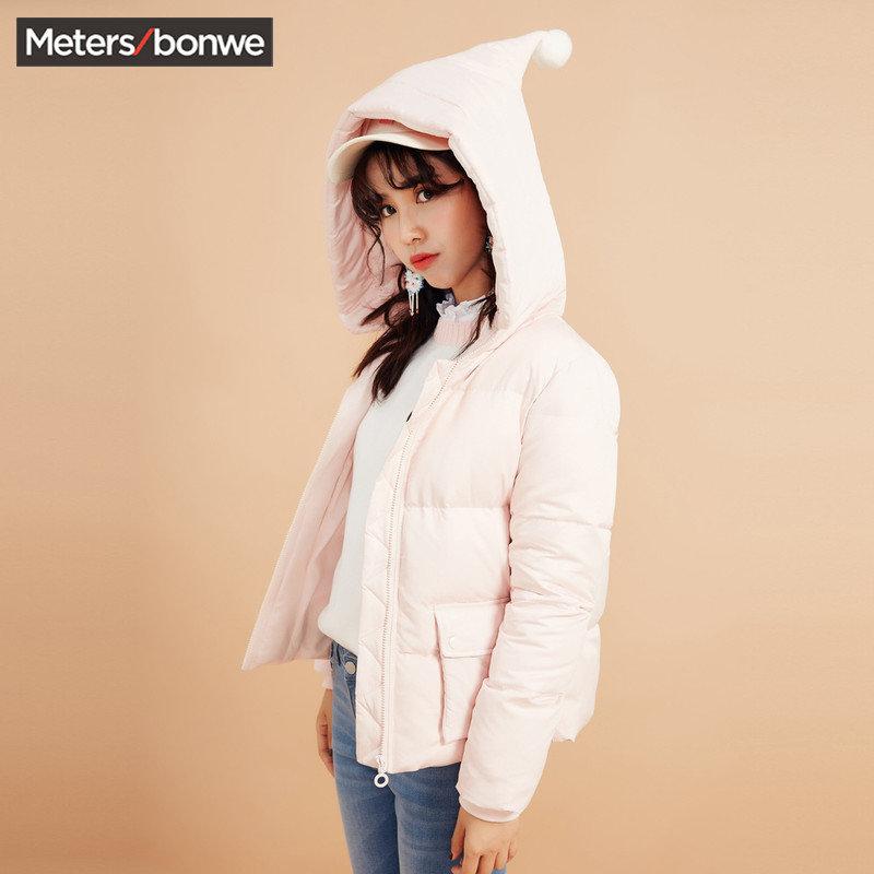 美特斯邦威羽绒服女士2017秋冬季新款学生少女面包连帽短款外套