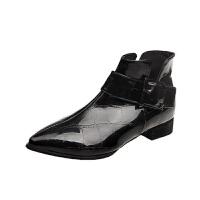 2019新款单鞋传奇女鞋漆皮尖头平底女英伦风短靴女踝靴子 黑色