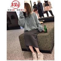 大码秋冬季胖mm微胖减龄套装遮肉网红两件套胯宽大腿粗的女生裙子