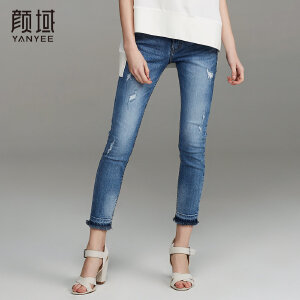 颜域品牌女装2018春夏新款铅笔小脚九分裤紧身显瘦破洞毛边牛仔裤