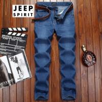 吉普JEEP男士牛仔裤新款商务休闲直筒男装牛仔裤子男式微弹薄款牛仔长裤