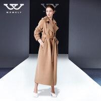双面羊绒大衣女中长款2018秋冬季新款赫本风呢子过膝反季毛呢外套 X