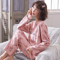 睡衣女 纯棉长袖睡衣 秋冬韩版家居服 女士睡衣棉质套装准库存