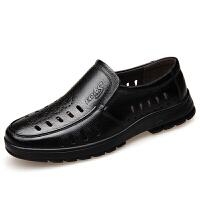 夏季头层牛皮男士凉鞋透气镂空洞洞鞋中老年软底休闲爸爸鞋子