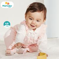 【1件2折】马卡乐童装22春新款宝宝连体服假两件可开扣设计女童连体服